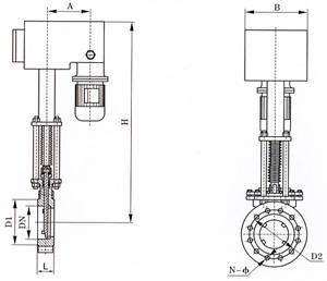 PZ273電液動刀型閘閥結構圖