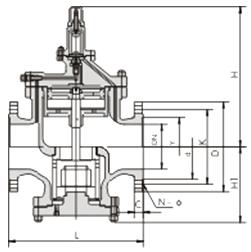 YGa43H/Y型高灵敏度大流量蒸汽减压阀结构示意图