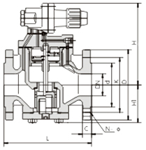 YG43H/Y型高灵敏度蒸汽减压阀结构示意图
