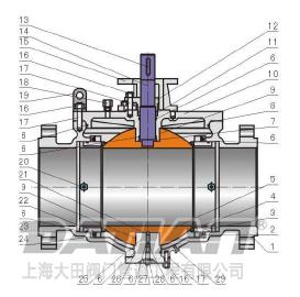 顶装式铸钢球阀结构图
