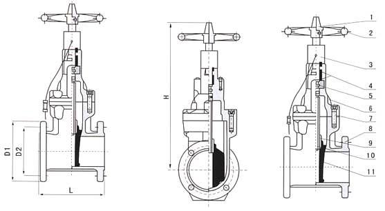 XXZ41<strong><strong>消防专用信号弹性座封闸阀</strong></strong>结构图
