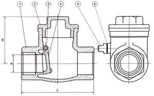 内螺纹旋启式止回阀结构示意图