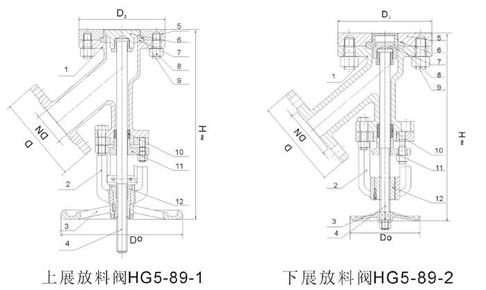 上展式放料阀结构示意图