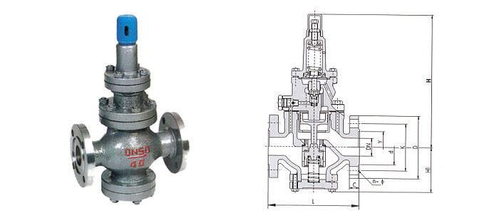 YT43H/Y型高灵敏度大流量蒸汽减压阀结构示意图