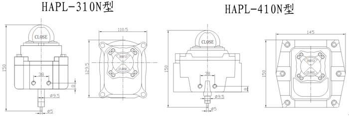HAPL-310N/410N型限位行程开关 外形尺寸