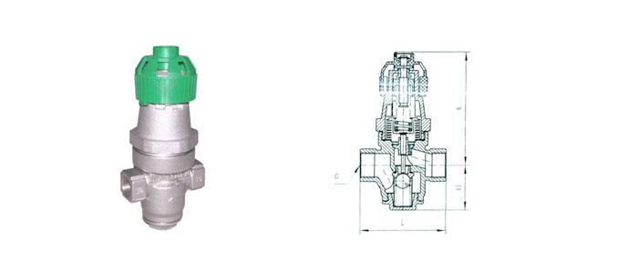 Y14H-16P小波纹管式减压阀结构示意图