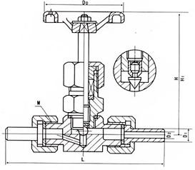 J23外螺纹热锻压阀体结构示意图