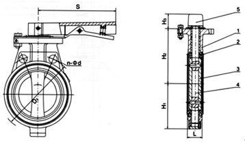 D71X(半衬)、D71J、D71H/Fs(全衬)衬夹衬胶蝶阀外形尺寸图