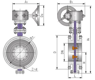Dd343蜗轮法兰式多层次金属硬密封蝶阀结构图