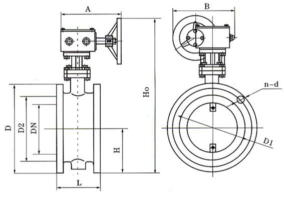 D341蜗轮法兰式通风蝶阀