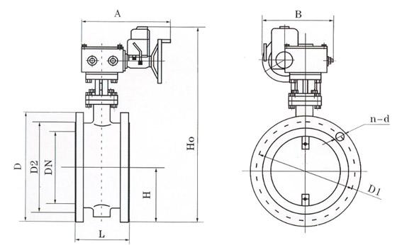 d941电动法兰式通风蝶阀结构示意图