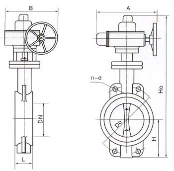 D971X电动对夹式软密封蝶阀结构图