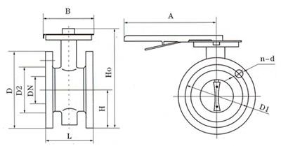 D41手柄法兰式软密封蝶阀结构图