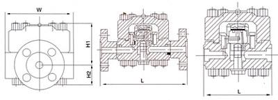 KPF3法兰高压圆盘式疏水阀结构示意图