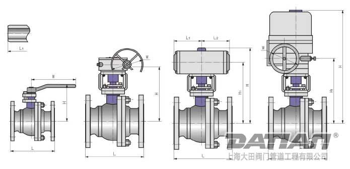 浮动式铸钢球阀结构图