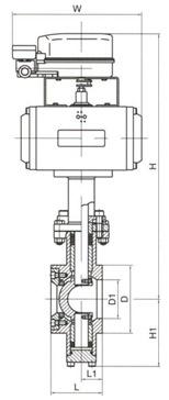 气动V型调节球阀结构图