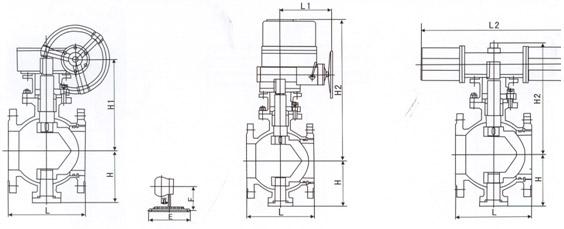 法兰连接V型球阀结构图