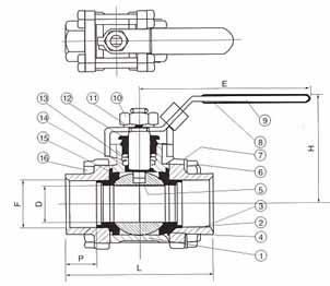 三片式承插焊球阀(3PC•SW)Q61F-16/64(C,P,R)