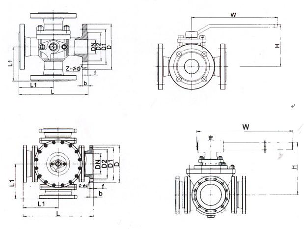 法兰连接四通球阀结构图