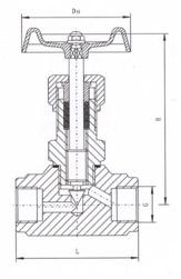 J13H内螺纹针型阀结构示意图
