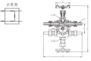 QFF3流量计平衡阀结构示意图