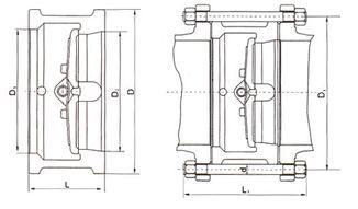 H76对夹双瓣旋启式止回阀结构示意图