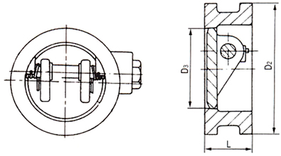 H77型对夹式止回阀结构示意图