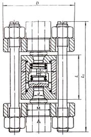 H72型对夹立式止回阀结构示意图