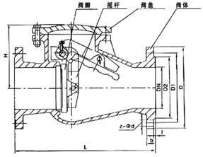 H44T旋启式止回阀结构示意图